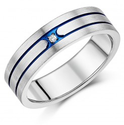 7mm Men's Titanium Blue Grooved Diamond Ring