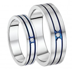 His & Hers 5&7mm Titanium Diamond Blue Grooved Engagement Ring