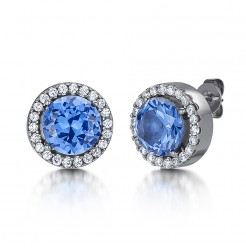 Titanium and Blue Stud Earrings