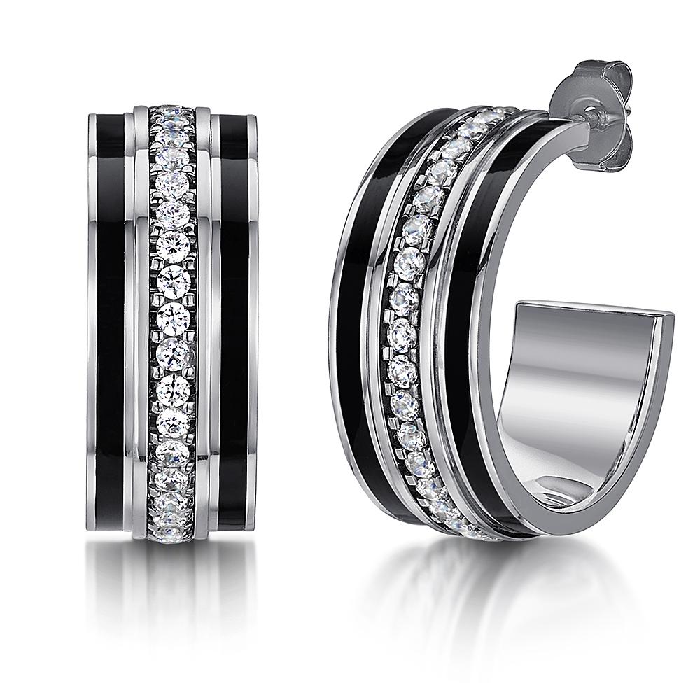 Titanium Black Enamel Earrings Half Hoop Sparkling CZ Stones Stud Earrings