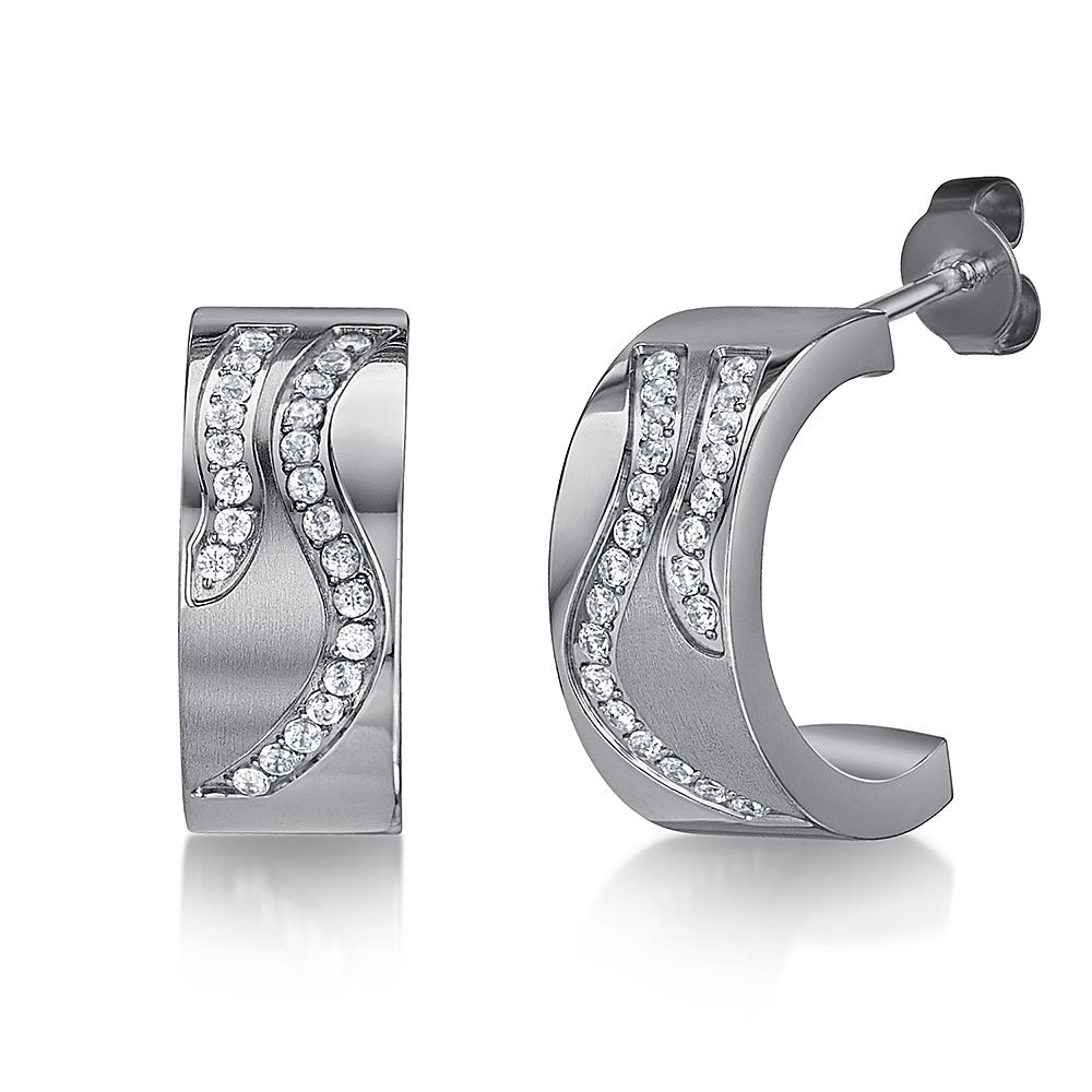 Half Hoop Earrings Titanium Stud Earrings Sparkling High Polished Earrings