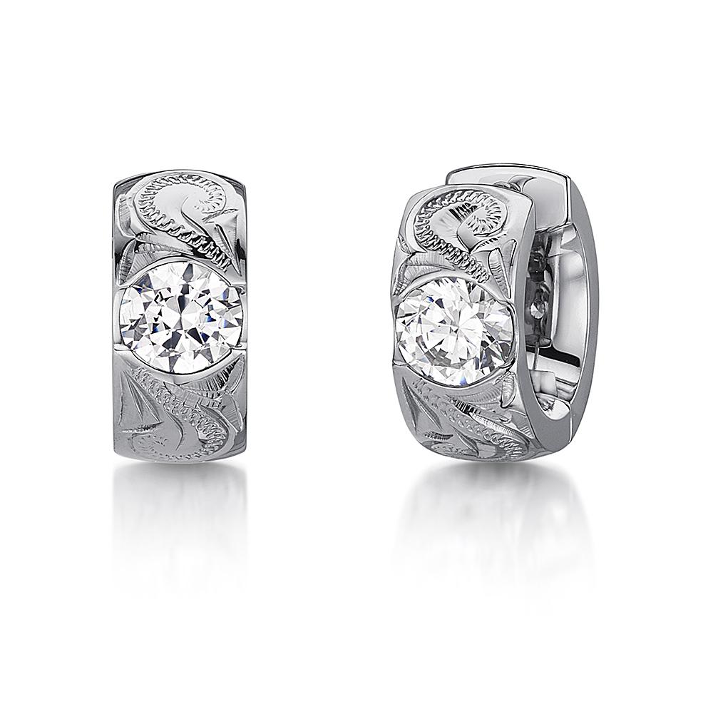 Men's Titanium Huggie Earrings Hinged Hoop Hand Engraved Sparkling Earrings