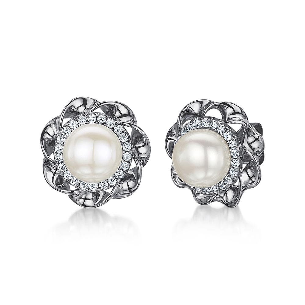 Titanium Pearl Cz Swirl Design Earrings