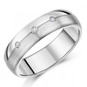 Titanium Engagement Wedding Ring 7mm Three Diamond Matt & Polished Band