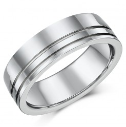 High Polished 7mm Mens Titanium Patterned Wedding Ring Band