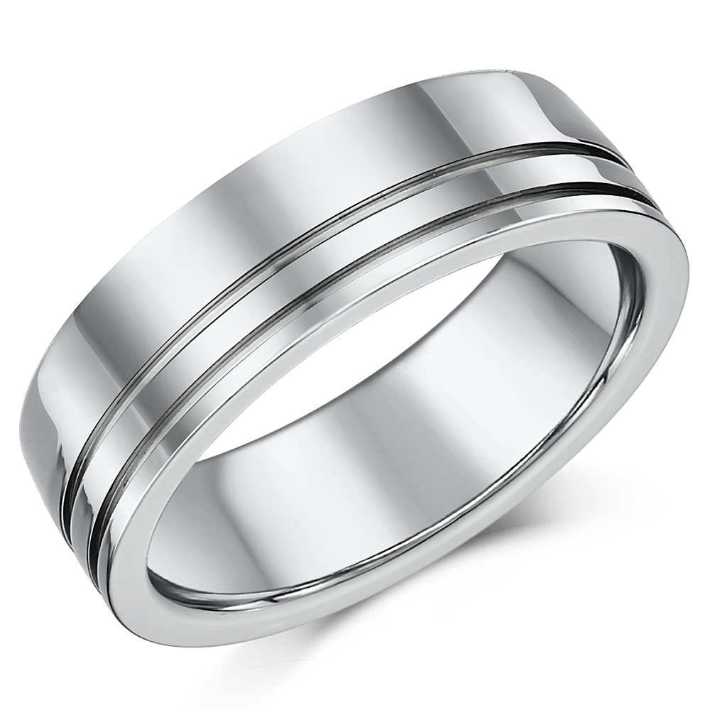 High Polished 7mm Mens Titanium Patterned Wedding Ring Band