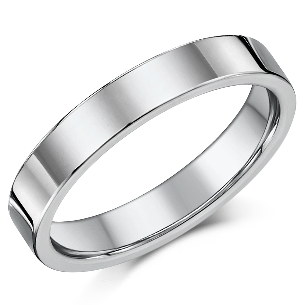 4mm Cobalt Chrome Wedding Band Unisex Polished Wedding Ring Flat Court
