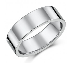 Titanium Flat Court Shaped Wedding Ring 7mm