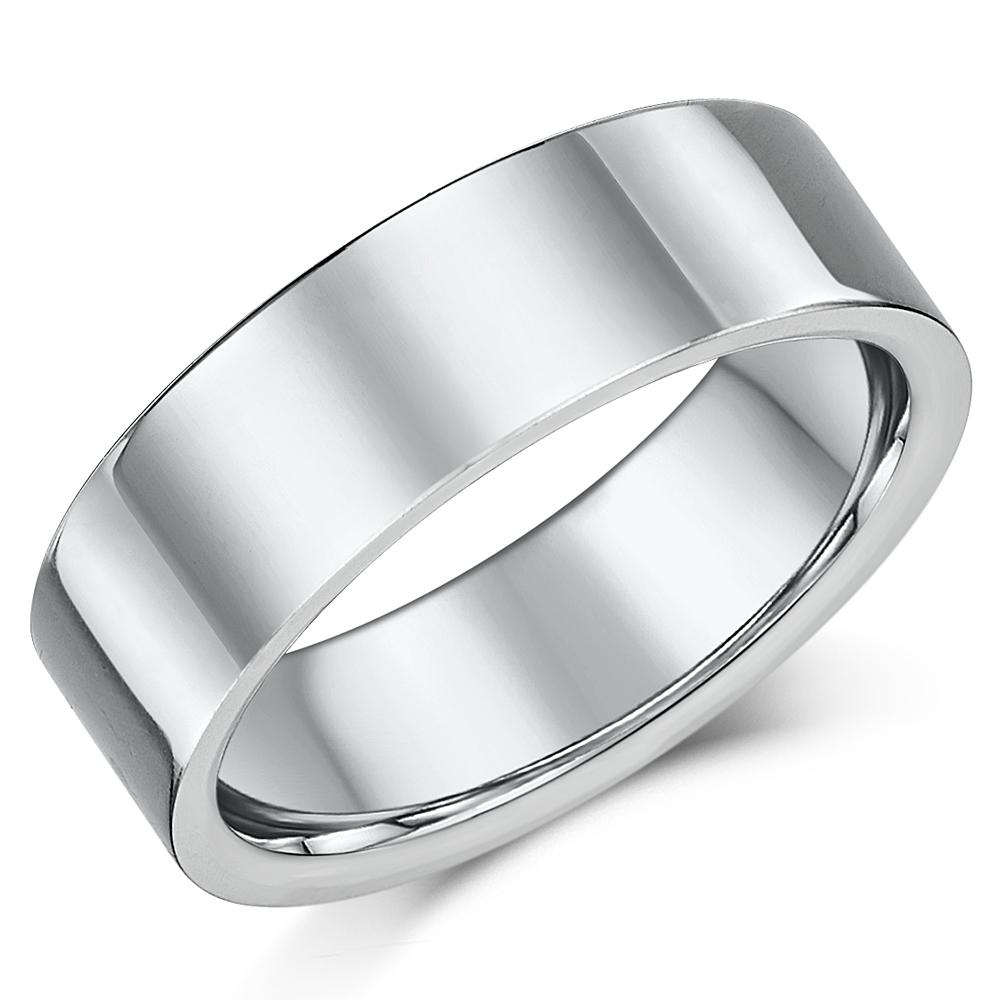 Titanium Flat Court Shaped Wedding Ring 8mm