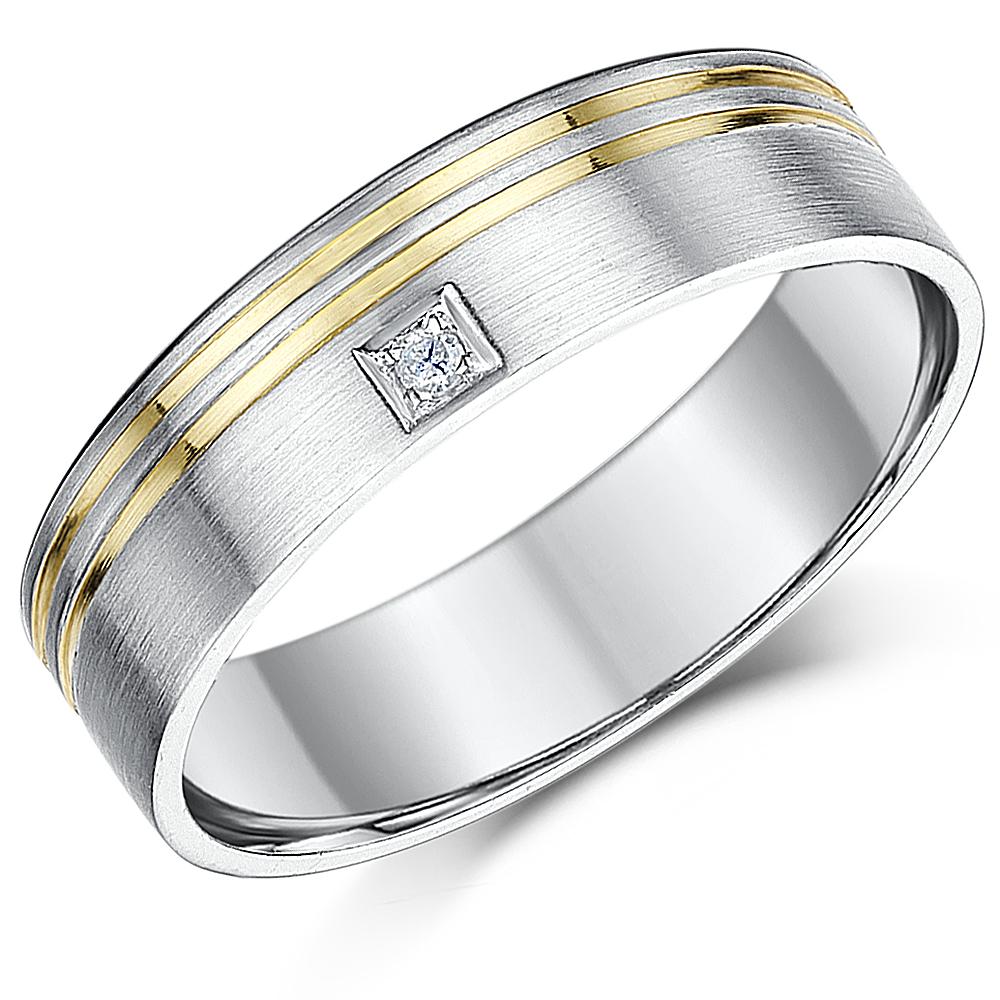 6mm 9ct White Gold Flat Court Diamond Wedding Ring