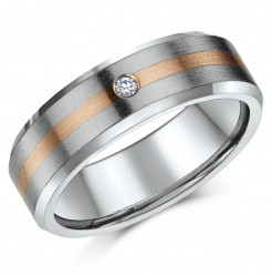 7mm Titanium & 9ct Rose Gold Diamond Wedding Ring
