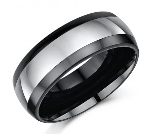 8mm Mens Nickel Free Tungsten & Ceramic Wedding Ring Band