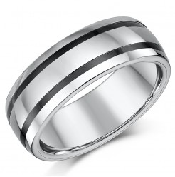 8mm Mens Tungsten & Ceramic Striped Wedding Ring Band