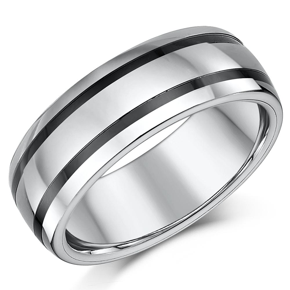 8mm Mens Tungsten & Ceramic Striped Wedding Ring Band