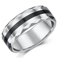 8mm Mens Faceted Tungsten & Ceramic Heavyweight Wedding Ring Band