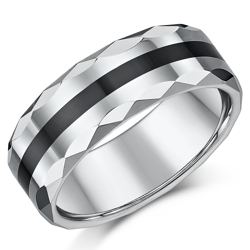 8mm Mens Faceted Tungsten Amp Ceramic Heavyweight Wedding Ring Band