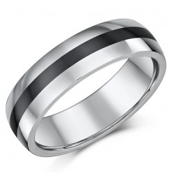6mm Tungsten & Ceramic Wedding Ring Band