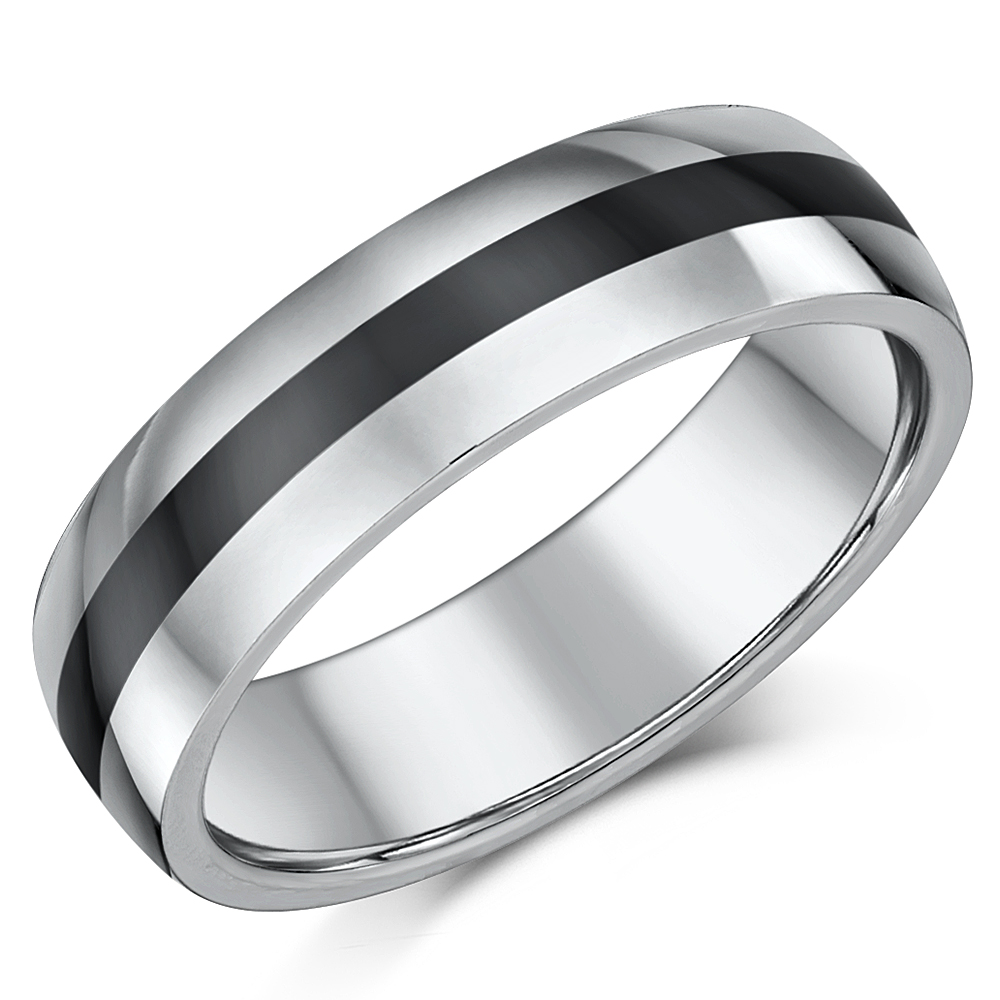 6mm Tungsten Ceramic Wedding Ring Band Nickel Free Tungsten at