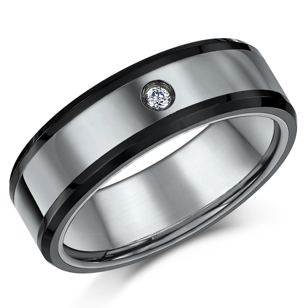 bezel diamond carbide brushed data polished la wedding beveled tungsten edge bands black band