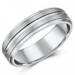 6mm Tungsten Matt & Polished Grooved Wedding Ring Band