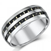 8mm Nickelfree Tungsten Two Tone Designed Wedding Ring