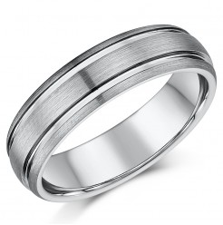 6mm Tungsten Double Grooved Wedding Ring band
