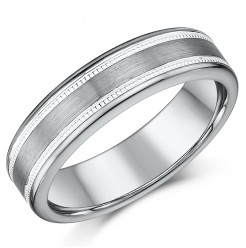 6mm Tungsten Men's Wedding Ring Band Millgrain Pattern Nickelfree