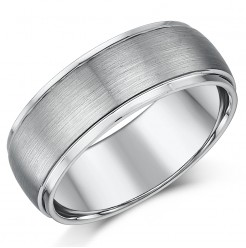 8mm Men's Matt & Polished Wedding Ring Band