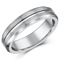 5mm Tungsten Matt & Polished Grooved Wedding Ring Band
