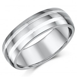 7mm Men's Tungsten and Silver Striped Wedding Ring Band