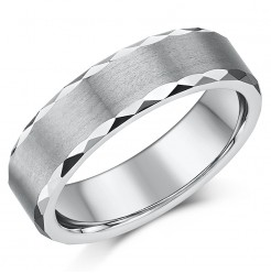 6mm Tungsten Wedding Ring Matt finish with Polished Faceted Edges