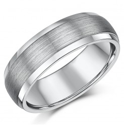 7mm Matt & Polished Tungsten Men's Wedding Ring Band