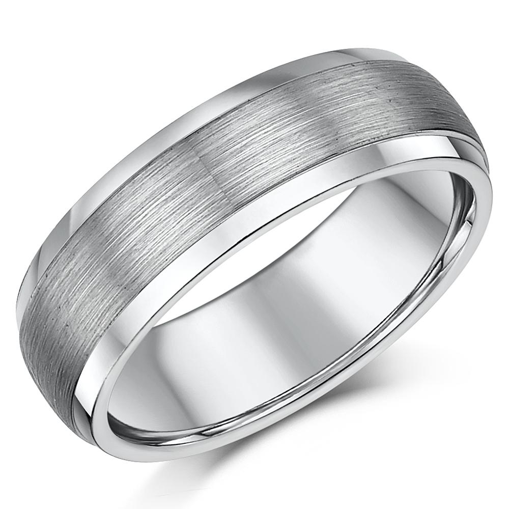 7mm Matt & Polished Tungsten Men's Wedding Ring Band