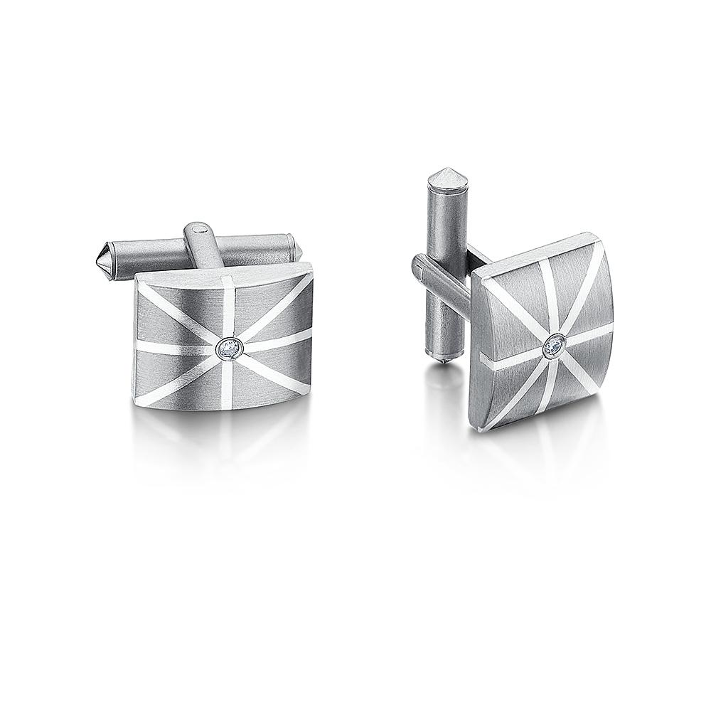 Titanium CZ Union Jack Cufflinks
