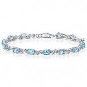 "Sterling Silver ""London Blue Topaz"" & Diamond Twist Bracelet"