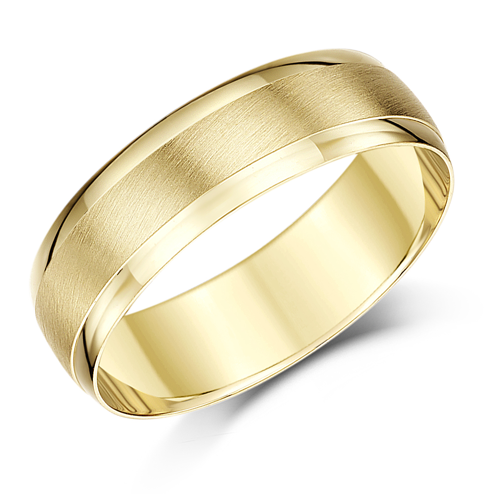 9ct Yellow Gold Textured Polished Edge D Shape Wedding