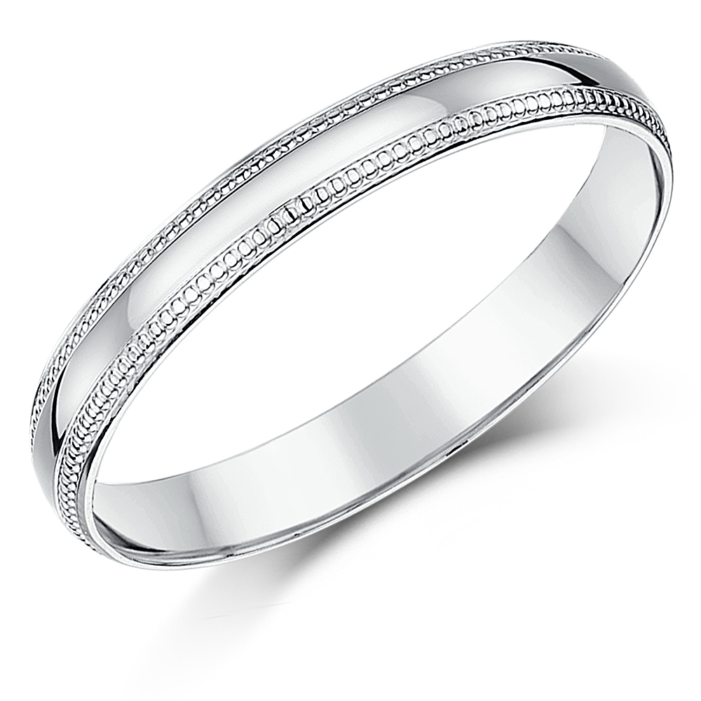 3mm Palladium Milgrain Edge Wedding Ring Band