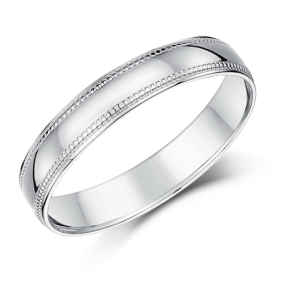 4mm Palladium Milgrain Edge Wedding Ring Band