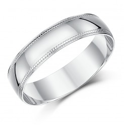5mm Palladium Milgrain Edge Wedding Ring Band