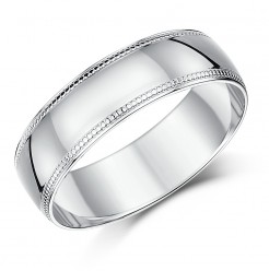 6mm Palladium Milgrain Edge Wedding Ring Band
