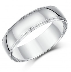 7mm Palladium Milgrain Edge Wedding Ring Band