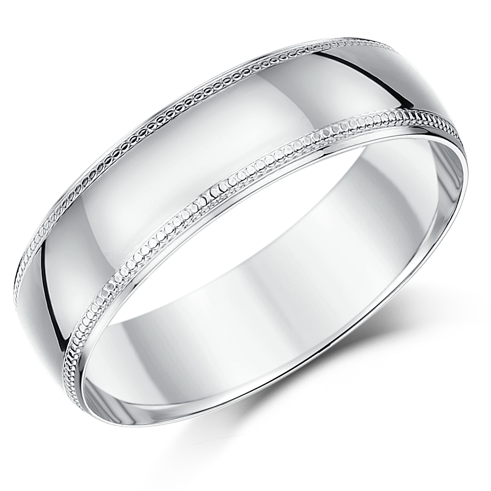 Milgrain Wedding Ring In Platinum 7mm: 7mm Palladium Milgrain Edge Wedding Ring Band