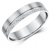 5mm 9ct White Gold Flat court Diamond Wedding Ring
