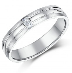 4mm 18ct White Gold Court Diamond Wedding Ring