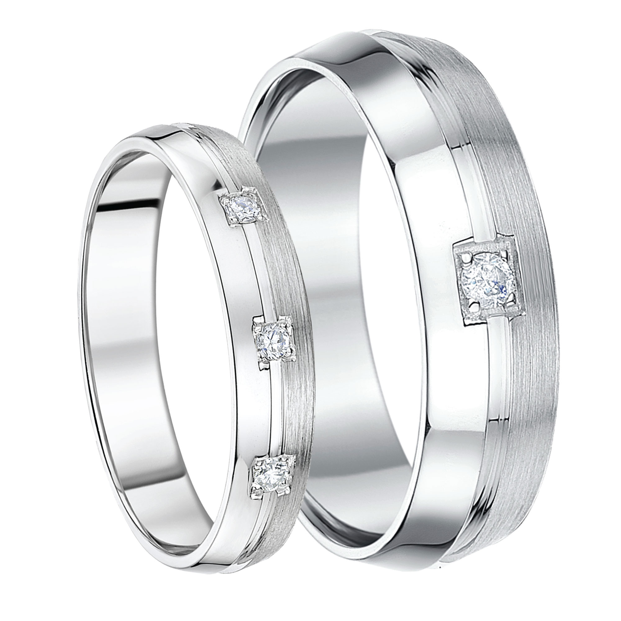 His Hers 46mm 9ct White Gold Boxed Set Diamond Wedding Rings