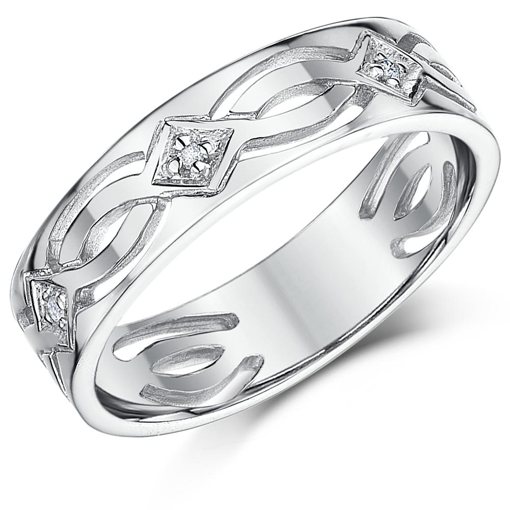 His Amp Hers 5 Amp 6mm 9ct White Gold Celtic Diamond Wedding
