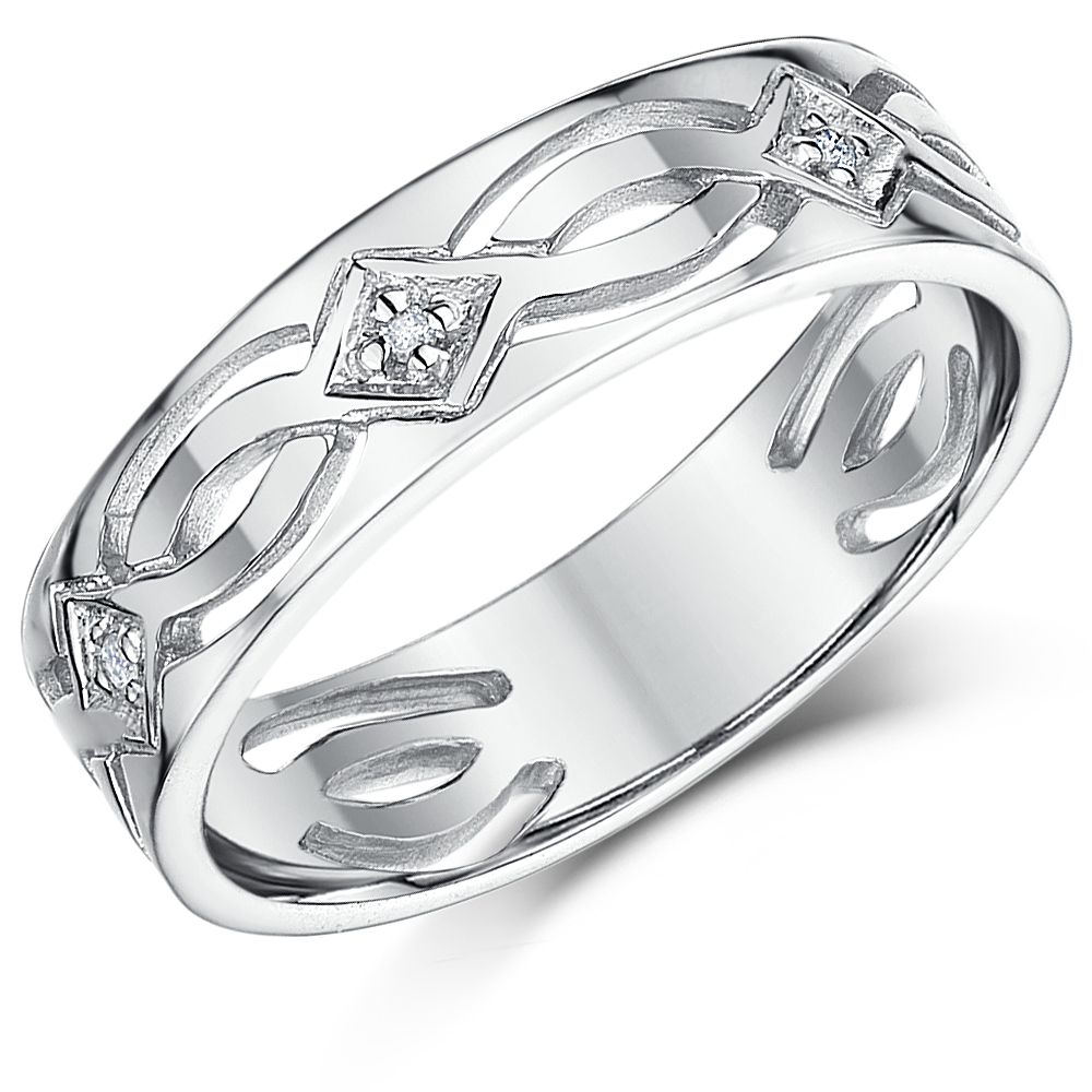 6mm 9ct White Gold Celtic Diamond Wedding Ring