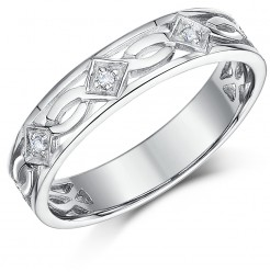 5mm 9ct White Gold Celtic Diamond Wedding Ring