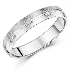 4mm 9ct White Gold court Shape Diamond Wedding Ring