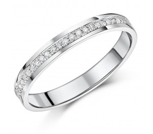 3mm 9ct White Gold Half Eternity Ring Court Shaped